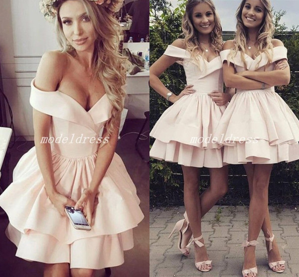 Pink Champagne Short Homecoming Dresses 2018 Off Shoulder Mini Girls Prom Cocktail Party Dresses For Sweet 15 abiti da ballo