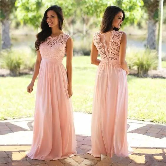 best selling Peach Pink Lace Chiffon Long Bridesmaid Dresses 2018 Cheap Plus Size Bridesmaid Dresses See Through Back Mint Burgundy Bridesmaid Gowns