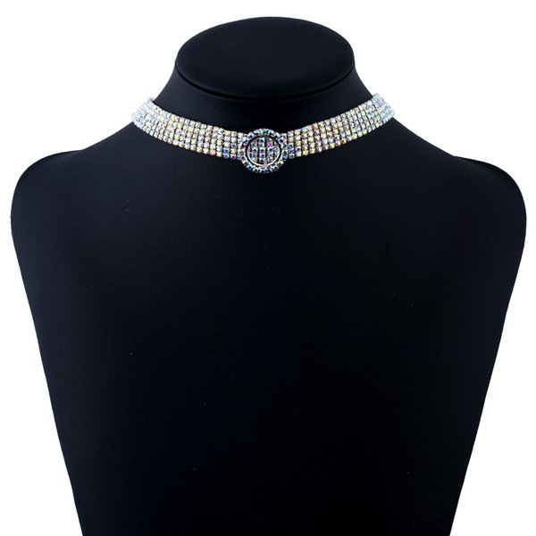 Women Full Rhinestone 5 Row Lines Chokers Necklace Layers Adjustable Collarbone Chain Necklace Wedding Bridal Jewelry Accessory