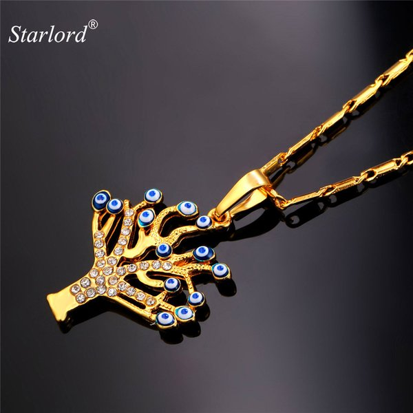 gold tree of life Starlord Turkish Jewelry Evil Eyes Necklace & Pendant Rhinestone Lucky Tree Of Life Gold Color Men Women Charms