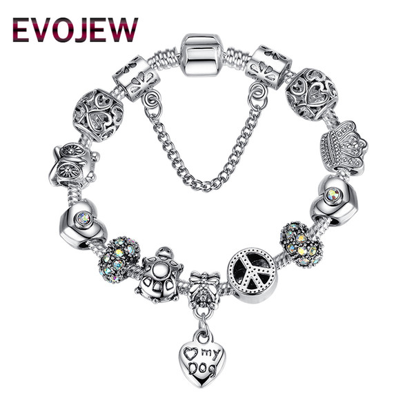 EVOJEW Fashion Safety Chain Silver Plated Charms Bracelet with Pet Dog Heart Beads&Animal Owl Turtles DIY Bracelet for Women Jewelry Gift