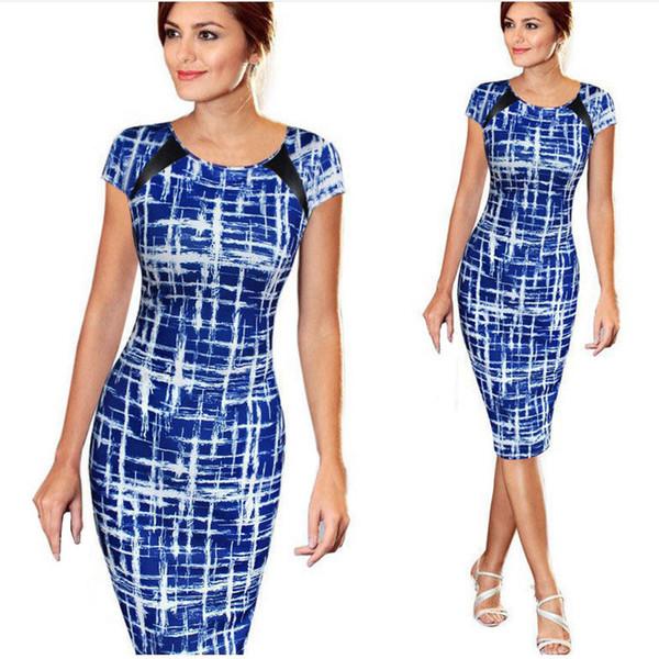 Compre Vestido De Oficina Elegante Para Mujer Vestido De Manga Corta Con Cuello En O Azul Vestido Estampado Hasta La Rodilla Vestidos De Tubo #VE A