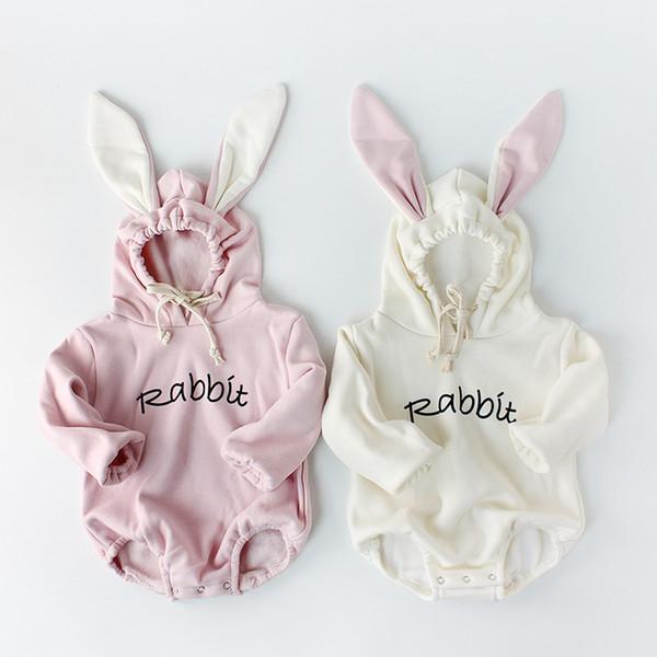 2018 Детская Одежда Утолщаются Подкладка Детские Боди Кролик Уха Мальчиков Боди Кролик Малыш Перемычка