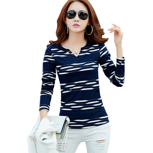 V-Neck T Shirt Women Long Sleeve White Tshirt 2018 Autumn Camisetas Mujer Striped Ladies Tops Casual T-Shirts Plus Size Blue Tee Shirt Femme