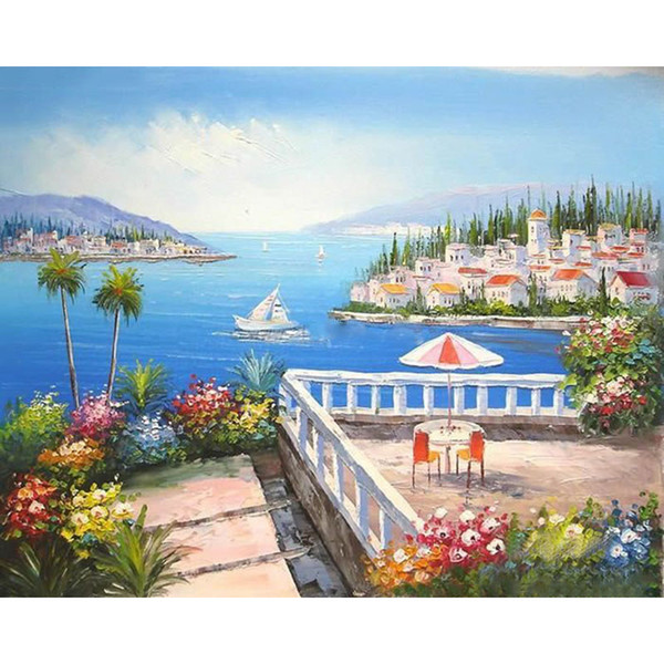 Frameless Picture Resort Seascape Diy Painting By Numbers Kit Acrylic Paint On Canvas Handpainted Oil Painting For Living Room