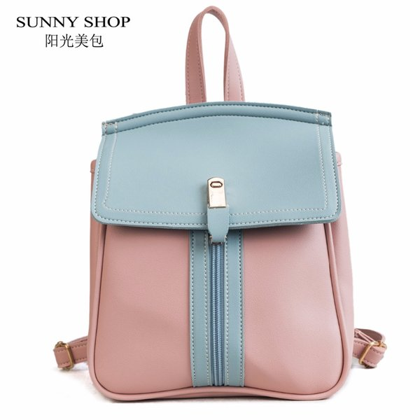 SUNNY SHOP Korean Kawaii Aniti Theft Backpack Women For High School Bag Trendy Girl College Bag Cute Small Leather Back pack