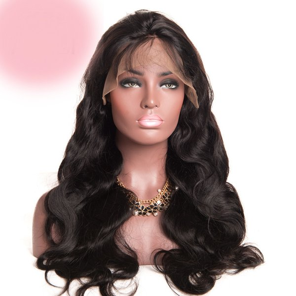 Smooth grade sexy aaaa virgin baby hair for women most popular human hair 100% unprocessed long natural color body wave full lace wig