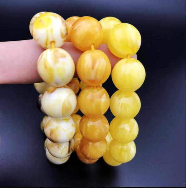 Saumure fluorescente, deux perles de cire d'abeille, bracelet, perles, hommes et femmes ficelle à la main, pure perle d'huile de poulet jaune perle de cire d'abeille