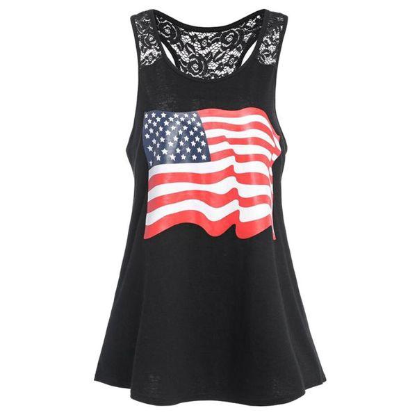 Feitong 2018 Sıcak Satış Yeni Varış Yaz Kadın Moda Seksi Amerikan Bayrağı Dantel Rahat Yelek Camiş Tank Bluz Gevşek Gömlek Tops