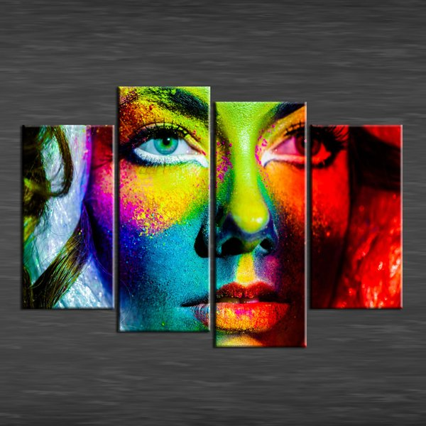 colorful face 4 Pieces Home Decor HD Printed Modern Art Painting on Canvas (Unframed/Framed)