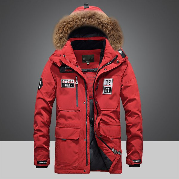 Collo di pelliccia con cappuccio uomo Outwear Winter Parka Warm Jacket Winter Dress 245