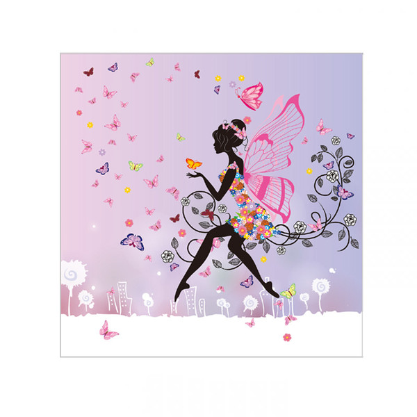 1 pcs Princess Wall Stickers Large Switch Sticker children's fairies with butterflies flowers with heart-shaped forms