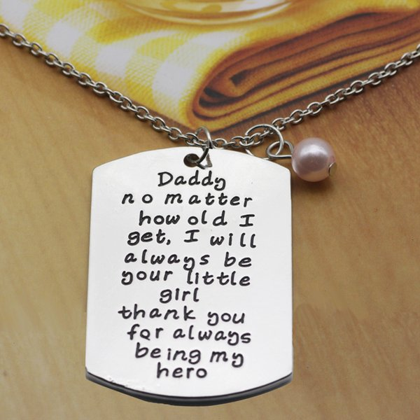 wholesale 12pcs/lot Daddy no matter how old i get...thank you for always being my hero Charm Necklace For Father Day Gift