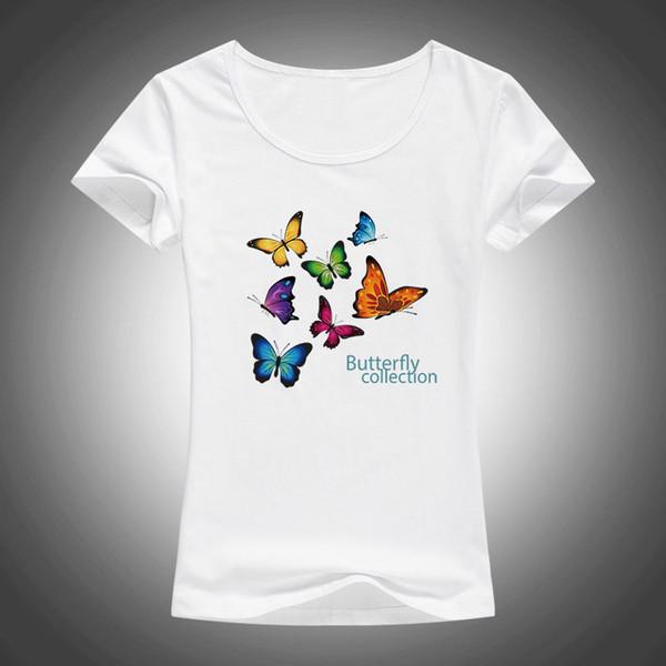 2018 Yeni Güzel Kelebek koleksiyonu T Shirt Kadın Yaz Kısa Kollu Kawaii T-Shirt güzel Tops Vogue Tee Gömlek Femme