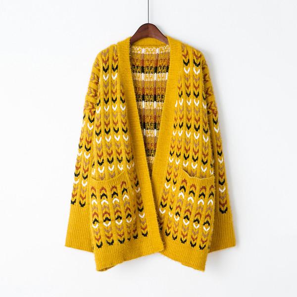 2018 Cardigans Women Girl Casual Long Knitted Cardigan Autumn Korean Women Loose Pocket Design Sweater Jacket Coat Tops