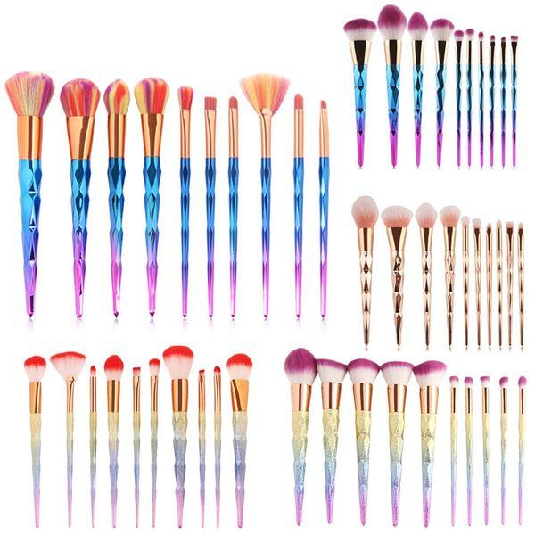 10Pc Magic Mermaid Rainbow Diamond Handle Makeup Brushes Set Foundation Cream Powder Highlight Contour Cosmetic Beauty Brush Kit