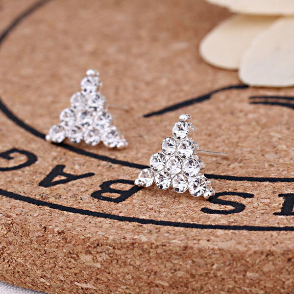 2018 New Fashion 45 Mix Styles Crystal Rhinestone Brilliant Triangle Diamond Jewelry Ear Stud Earrings For Women Best Gift Wholesale Pairs