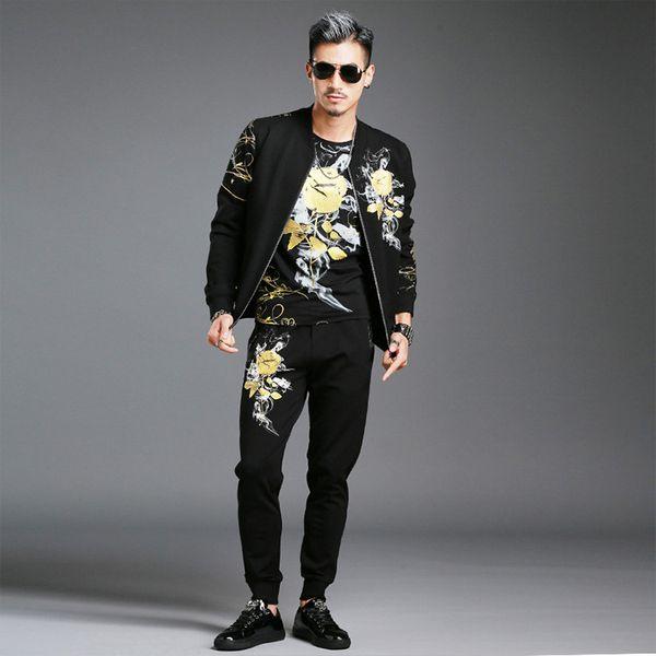 Autumn Winter Flowers Printed Men's Fashion Casual Jacket Set Joggers Pants Sportswear Tracksuit Fitness Men Set Zipper Outwear