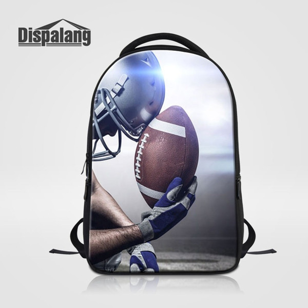 Rugbayball Footballs Printing Laptop Backpacks For College Students Large Capacity School Bag Men's Cool Travel Bagpack Rucksack
