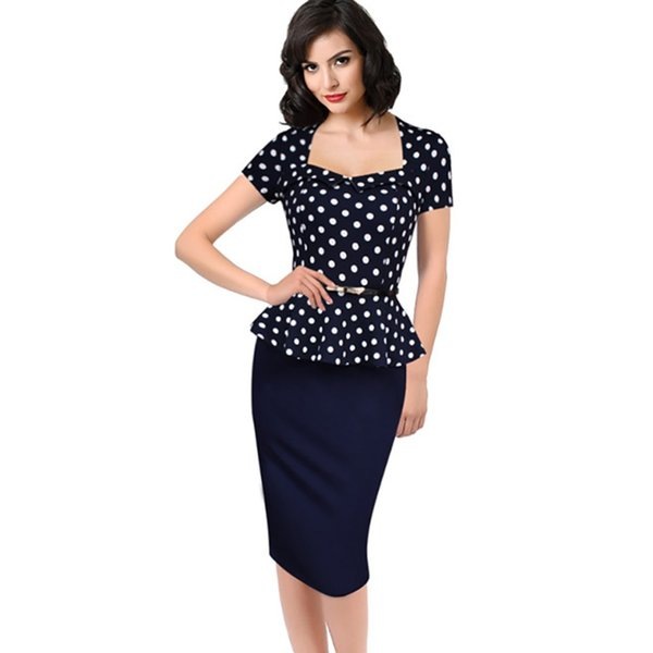 wholesale 2016 New Women Vintage Peplum Dot Print Fake two Slimming Work Business Casual Lotus leaf hem Party Sheath Pencil Dress