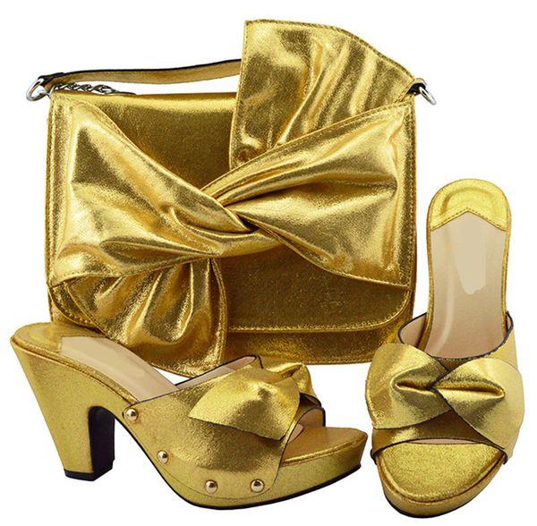 Чудесные золотые женские туфли и большая сумка с бабочкой в стиле африканских туфель, сочетаются с сумочкой для платья YM006, каблук 9.5CM