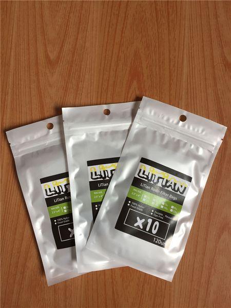 25/90/120/160 micrones 1.75 x 4 pulgadas Resina de presión Filtro de malla de malla Bolsas de té - 20 hojas