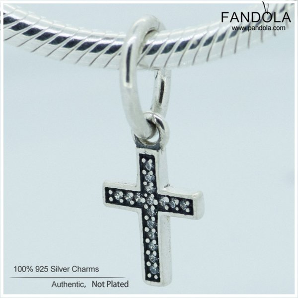 FANDOLA 1pcs Authentic Charms 925 Sterling Silver Symbol of Faith Clear CZ Cross Beads for Jewelry Making for Bracelets & Bangle