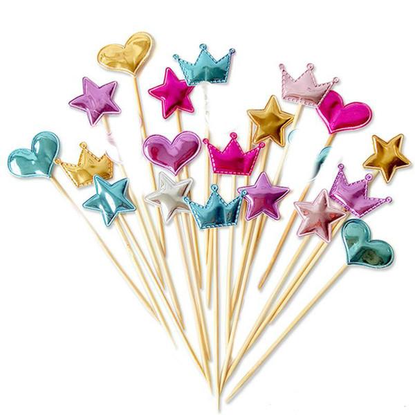 5 teile / los schöne herz stern krone kuchendeckel für geburtstag cupcake flagge baby shower party hochzeit dekoration liefert