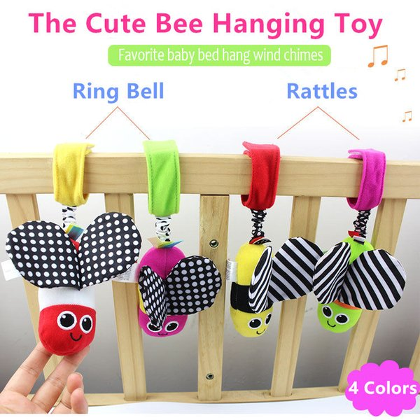 HOT Sale Baby Rattles hanging Bee with sound Cute Animal Infant Baby Crib Stroller Toy 0-12 months Plush Butterfly Bed Play Doll free ship