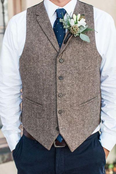 2018 Wedding Mens Waistcoat 2018 Fashion Casual Slim Vest Wool Lapel Collar Vests Groom Vest Slim Fit Formal Mens Suit Vest Custom Made