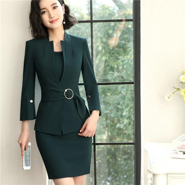 Formal Ladies Dress Suits for Women Business Suits with Dress and Jacket Blazers Sets Work Wear Office Uniform Designs Plus Size