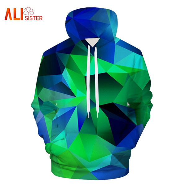 2018 new men's hoodies geometric 3d printing sweatshirt fashion crew neck long sleeve hooded coat pullover casual outwear, Black