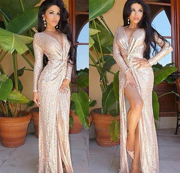 2018 Plunging V Neck Split Sequined Evening Dresses Sheath Long Sleeves Formal Holiday Wear Prom Party Gown Custom Made Plus Size