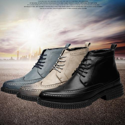 2018 new fashion mens shoes pop Korean version of carved leather boots mens pointed Martin boots wholesales Best selling B030