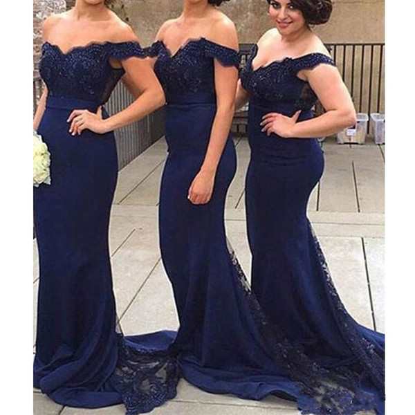 2018 Navy Blue Blush Off-the-Shoulder Mermaid Bridesmaid Dress Lace Applique Train Party Prom Evening Gown Dresses Custom Made Free Shipping