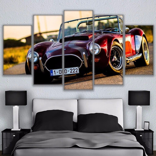 5 Panels painting Ranch Red Luxury Sports Car on Canvas HD Print Livingroom Décor(Unframed/Framed)