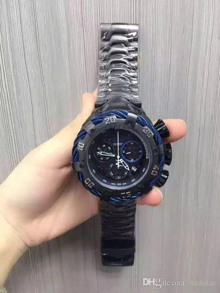 Venta caliente reloj de lujo 2016 EN 21347 Reserva Hombres 52mm Thunderbolt Swiss Chronograph SS Reloj de pulsera