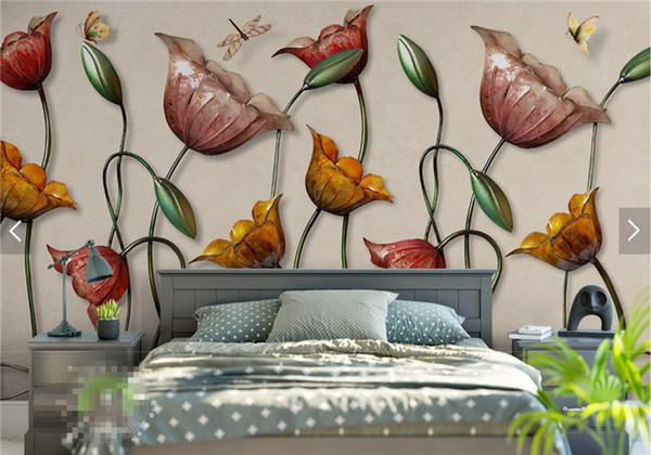 3d Wall Paper Water Lily Butterfly Flower Wallpaper Mural For Bedroom Wall Art Decor Murales De Pared 3d Wall Mural Papier Peint Free Hd Images