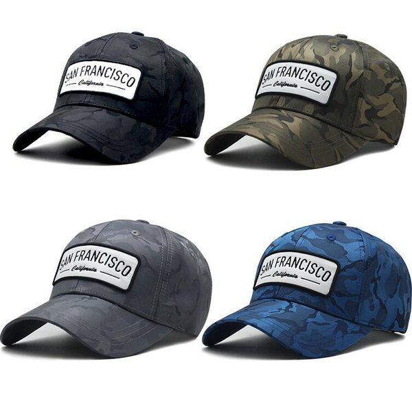 Camouflage Baseball Cap 4 Colors Letter Printed HipHop Snapback Hats Fashion Outdoor Camo Tactical Ball Hats OOA5678
