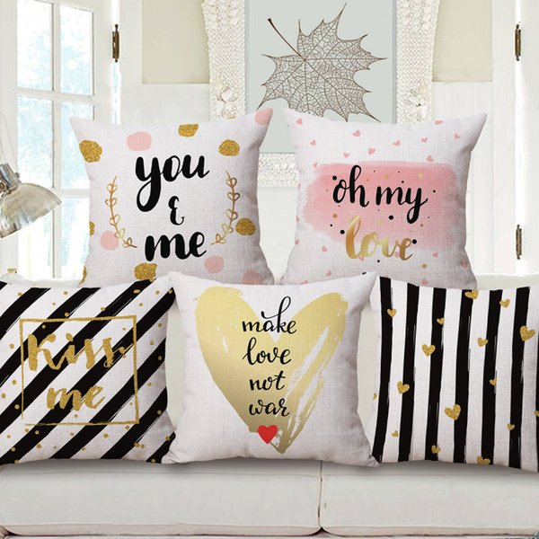 Gold LOVE Hug Me Cushion Covers 11 Styles Pink Geometric Stripe Kiss Me  Throws Decorative Thick Linen Cotton Pillow Case Bedroom Decor Patio Lounge  ...