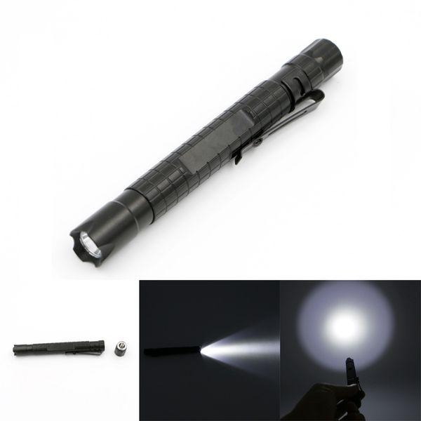 Mini Aluminum Alloy LED Pen Flashlight Torch With Pocket Clip Portable Lamp Light for Outdoor Camping Night Light XP-E2 R3 NNA272