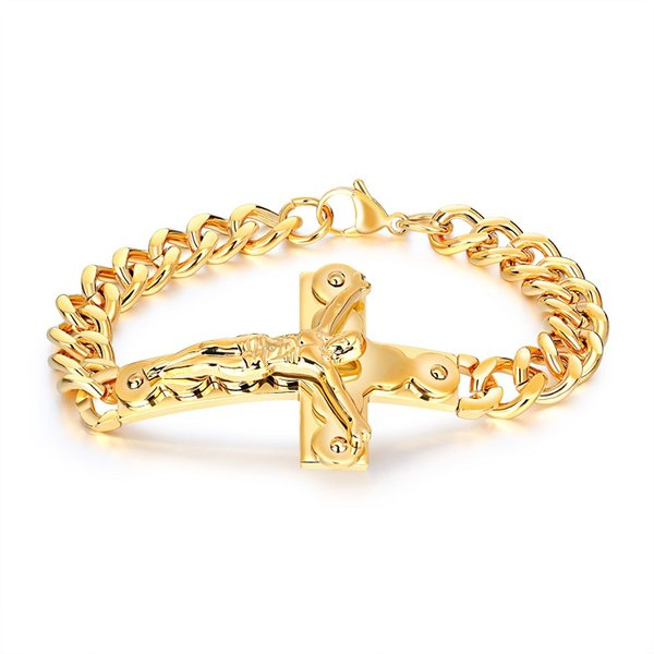Fashion Bracelets Men Jewelry Jesus Design Punk Rock Hip Hop Gold Silver Link Chain Stainless Steel Bracelet Men Gifts for Men