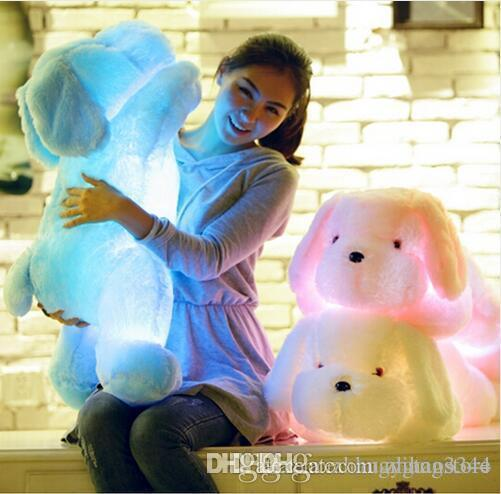 Wholesale- 1Pcs 80cm Length Creative Night Light LED Lovely Dog Stuffed and Plush Toys Best Gifts for Kids and Girl Friends