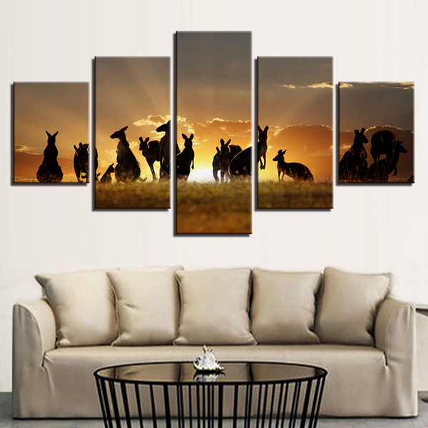 Canvas Wall Art Pictures Home Decor 5 Pieces Animal Kangaroos Group Sunset Landscape Modular Painting Living Room Posters Frames