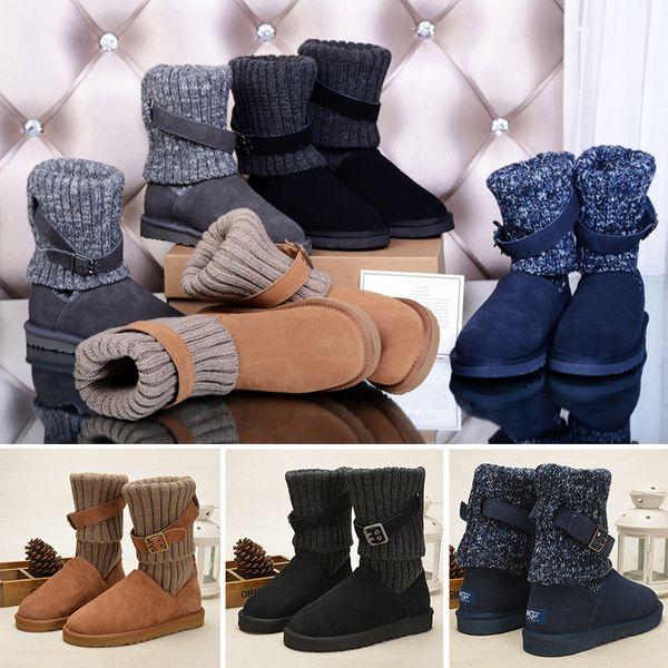 2019 WGG 1003175 Pullover Knie Stiefel Ankle Boots Australien Klassische Marke Womens Mädchen Strickwolle Krawatte Schwarz Grau Blau Winter Schneeschuhe
