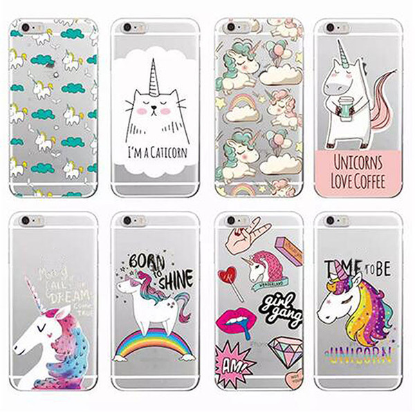Cute Unicorn Rainbow Pizza Coffee Cartoon Soft Clear Phone Case For iPhone X 7G 8G 6S PLUS 5S Samsung S8 S9 PLUS S7