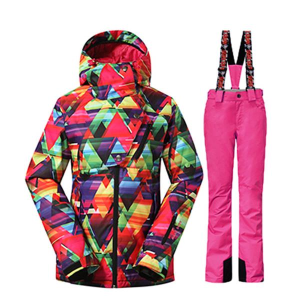 NIEVE GSOU Invierno -35 Grados Mujeres Traje de Esquí Trajes de Snowboard Femeninos Impermeable 10 K Súper Cálido Chaqueta de Esquí + Pantalones de Deporte Al Aire Libre