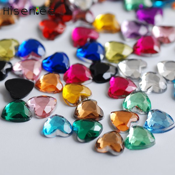 1000PCS Fashion Color Acrylic Heart Shape Rhinestone Japanese Style Sweet DIY Nail Art Handicraft Accessories Design Decoration