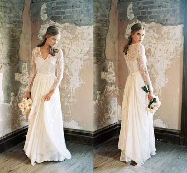 Discount Vintage 1920s\u0027 Wedding Dresses With Long Sleeve 2018 Fairy Lace V  Neck Full Length Outdoor Country Bohemian Bridal Wedding Gown Wedding