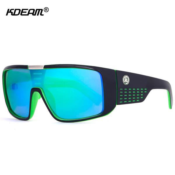 KDEAM Oversized Shield Dragon Sunglasses Men Single Lens Steampunk Goggles Surfing Glasses With Designer Box KD999 CE